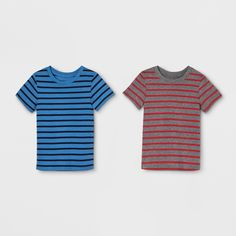 3fd013c5a Your little guy will look cool and comfy wearing a tee from this 2-Pack of  Blue/Gray Striped Short-Sleeve T-Shirts from Cat and Jack.