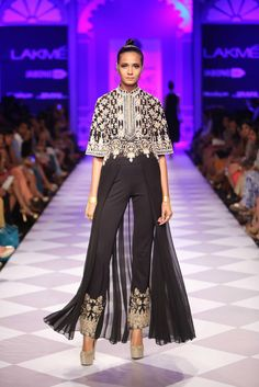 Black Embroidered #Anarkali #Suit. Taj Mahal Tea Presents Anita Dongre At Lakme Fashion Week 2014.