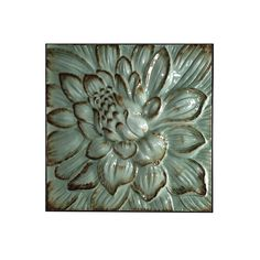 WI42346  Stamped metal flower wall plaque in antique blue  $59.95  Qty On Hand: 10+  Next Receipt Date: 03/02/15 - Available: 129 - Container Not Shipped Stamped metal flower wall plaque in antique blue Dimensions: H: 31 W: 31 D: 3