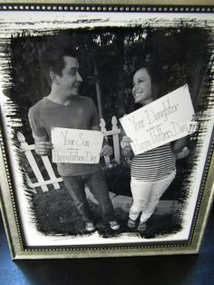 """Simple & cute Fathers Day gift idea. Create a sign that says """"Your Son & or Daughter wishes you a Happy Fathers Day"""". Hold sign, take photo, print, and frame . Too cute !!!"""