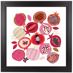 Americanflat 'Pomegranates' by Jocelyn Proust Graphic Art in White Size: 1 Textiles, Pomegranate Art, Pomegranate Drawing, Jewish Crafts, Do It Yourself Inspiration, Guache, Motif Floral, Fruit Art, Art Inspo