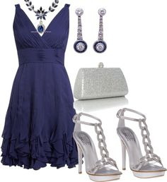 """""""Silver/blue"""" by yiannab on Polyvore"""