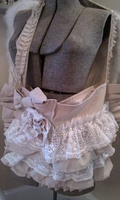 Gorgeous Girly Ruffled lace and Rosette Bag Makes by shabbychatue, $25.00