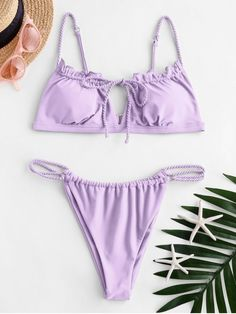 [38% OFF] [POPULAR] 2020 ZAFUL Tie Keyhole Plaited Bikini Set In MAUVE | ZAFUL    The bikini top features a front tie and keyhole cutout detail and seductive open back, and the bottom is designed with dual plaited straps at the sides that draw the eye to your waist. The only way you could improve on it? By adding some tortoiseshell sunnies. Style: Sexy Swimwear Type: Bikini Gender: For Women Material: Nylon,Spandex Bra Style: Padded Support Type: Wire Free Collar-line: Spaghet...