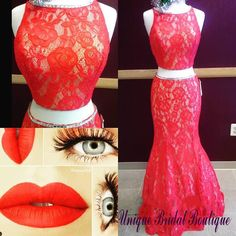 Prom Dress Under 200 2016 Red Lace Prom Dresses With Beaded Collar And Sweep Train Model Pictures Appliques Two Pieces Prom Gowns With Sweep Train Prom Dress Usa From Nicedressonline, $128.53  Dhgate.Com