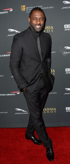British actor Idris Elba wearing Burberry tailoring to receive the Humanitarian Award at the BAFTA LA Britannia Awards