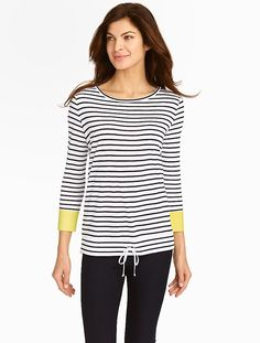 Talbots - Schooner Stripes Colorblocked-Cuff Top | Petites | Petites