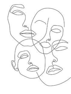 Messy Faces Art Print by Explicit Design - X-Small Face Line Drawing, Line Drawing Tattoos, Single Line Drawing, Cat Drawing, Tattoo Drawings, Outline Art, Face Outline, Outline Drawings, Drawings Of Hearts