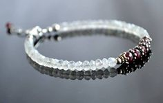 Moonstone and ruby bracelet, red and white bracelet