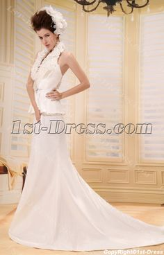 1st-dress.com Offers High Quality Mermaid V-neck Court Train Taffeta Wedding Dress With Ruffle Flower(s) F-124,Priced At Only US$218.00 (Free Shipping)
