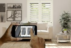 smart-tilt®shutters by elizabeth henley ltd control your setters via the app Led Light Switch, Light Switches, Window Shutters, Home Automation, Light Fittings, Tilt, First World, Innovation, Family Room