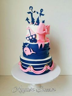 Girl pink and blue nautical themed birthday cake