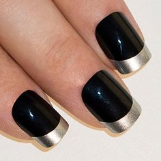 Bling Art False Nails French Manicure Black Silver Full Cover Medium Tips UK -- Learn more by visiting the image link.