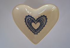 heart shaped bowl with heart decal in dark blue Heart Shaped Bowls, Heart Shapes, Heart Ring, Ceramics, Trending Outfits, Unique Jewelry, Handmade Gifts, Rings, Dark Blue