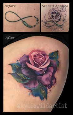Infinity Symbol cover up tattoo with beautiful watercolour pink and purple rose on thigh by Kylie Wild Heslop, Canberra, Australia tattoo Artist, Airbrush Artist
