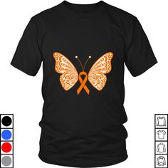 Check this Teeecho Leukemia Amp Kidney Cancer Orange Ribbon Butterfly Wings T-Shirt, Sweatshirt, Hoodie for Men & Women . Hight quality products with perfect design is available in a spectrum of colors and sizes, and many different types of shirts! Butterfly Shirts, Butterfly Wings, Leukemia Awareness, Pun Gifts, Kidney Cancer, Spicy Chili, Healing Power, Awareness Ribbons, Hoodies
