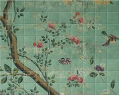Surface view has several chinoiserie images and they can manipulate them to change colours of look more aged. Also under V&A section and anciant asian: grey fish, screen panel, panel of wallpaper 1 and 2 Bathroom Mural, Victorian Wallpaper, Ceramic Tiles, Mosaic Bathroom Tile, Bathroom Tile Mural, Mural, Bathroom Flowers, Tile Murals, Wallpaper Bathroom Walls