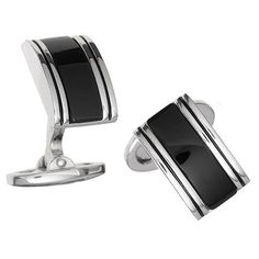 The Power of Detail These cuff links add the power of detail and the classic appeal of your choice of either black or white gemstones. - Crafted in 925 sterling silver with an anti-tarnish rhodium fin