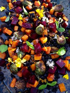 Autumn Salad Recipe of Roasted Red Beets, Butternut Squash & Roast Brussels Sprouts on a bed of black rice with a citrus blood orange vinaigrette. Beet Recipes, Vegetable Recipes, Fall Recipes, Healthy Recipes, Thanksgiving Recipes, Advocare Recipes, Whole30 Recipes, Clean Recipes, Vegetable Dishes