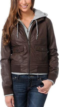 Brown leather/gray hoodie OBEY bomber jacket