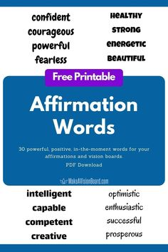 Get this FREE printable for 30 powerful, positive affirmation words to use on your vision boards or affirmation board. Or just print out your favorite power words and tape them on your mirror or desktop! Plus discover the 3 keys to writing affirmations that really work. (And you don't have to give us your email address to get the free download!)