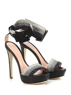 Le Marrine - Sandalo alto - Donna - Sandalo alto in pelle e camoscio con cinturino alla caviglia in pelle intrecciata. Suola in cuoio, tacco 145, platform 40 con battuta 95. - NERO - € 198.00