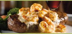 APPLEBEES SHRIMP AND PARMESAN STEAK   The sauce is good with grilled chicken too.  INGREDIENTS    2 10 oz sirloin steaks  2 cups heavy cream (or 16 fl oz)  2 Tbsp fresh basil, chopped (2 tsp dry)  1/2 cup Parmesan cheese, grated  Salt to taste  Pepper to taste  20 shrimp, tails and shells removed