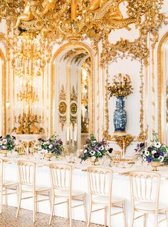 FOR THE RECEPTION || NOVELA BRIDE...Gilded gold ornate dining space for royalty || Where the modern romantics play & plan the most stylish weddings... www.novelabride.com @novelabride #jointheclique