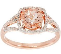 Round Morganite & Diamond Solitaire Ring 14K Gold 1.00 cttw
