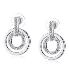 Swarovski Double Circle Rhodium Pave Earrings from Bijoux Closet
