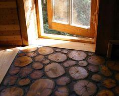 piso com tocos de madeira