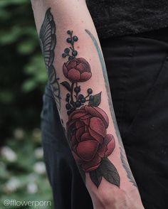 Peonies by Olga Nekrasova #tattoo