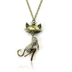 Vintage Cat Necklace, #Jewelry