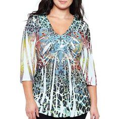 Unity World Wear® Sequin Trim V-Neck Shirt - Plus - jcpenney
