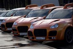 Porsche is a common taxi in Moscow