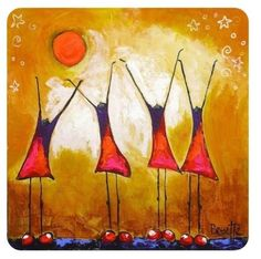 """Sun Dancers,"" Acrylic and Combined Media on Stretched Canvas Art Painting Gallery, Modern Art Paintings, Painting & Drawing, Zen Art, Diy Canvas Art, Whimsical Art, Religious Art, Figurative Art, Oeuvre D'art"
