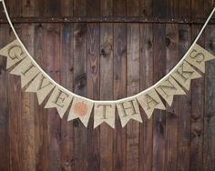 Give Thanks fall autumn thanksgiving burlap banner with pumpkin for mantle, home decor, or photo prop