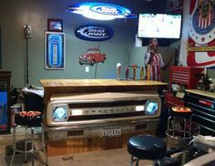 Diy Man Cave Accessories : Re purposed car front end. very cool! think i'll make one for the