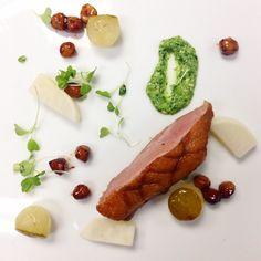 Sous vide duck, braised hazelnut, sweet + sour turnip, watercress purée, pear #foodporn #food #duck #chefslife #dinner Photo cred: trufood8