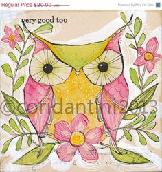 ON SALE owl  folk painting 8 x 8  limited edition by corid on Etsy, $16.00