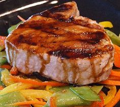 Teriyaki Tuna with Ginger Vegetables:  reduced sodium soy sauce, sake, mirin, granulated sugar, canola oil, fresh ginger, garlic, red bell pepper, yellow bell pepper, snow peas, carrots, tuna fillets