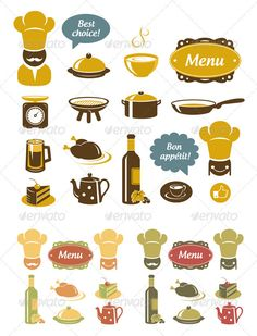 Kitchen And Restaurant Icons Set