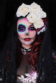 Halloween Makeup Sugar Skull, Amazing Halloween Makeup, Sugar Skull Makeup, Halloween Kostüm, Couple Halloween Costumes, Voodoo Doll Makeup, Comic Makeup, Theatrical Makeup, Creative Makeup Looks