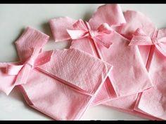 ▶ Como fazer um vestidinho usando guardanapo de papel para chá de bebê - YouTube