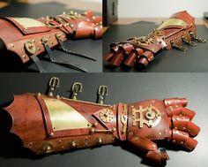 Steampunk Armored Bracer & Gauntlet. $400.00, via Etsy.