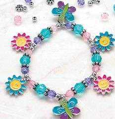 Butterfly & Daisy Charm Bracelet Craft Kit :  Girls love to make and wear these butterfly and daisy charm bracelets! Includes 3.1 mm - 6.3 mm plastic beads and 1.6cm - 2cm enamel charms on a 30.5 cm stretchy cord. All craft kit pieces are pre-packaged for individual use.