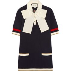 GucciPussy-bow Knitted Cotton-blend Tunic (€1.145) ❤ liked on Polyvore featuring tops, tunics, navy, polka dot tunic, striped tunic, gucci, oversized tops and navy striped tunic