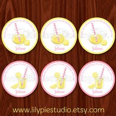 Pink Lemonade Limeade Cupcake Toppers / Labels