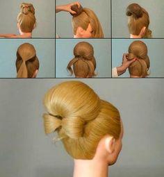 Прическа бабетта с валиком для волос