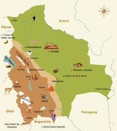 Carte de Bolivie - Thaki Voyages Bolivie